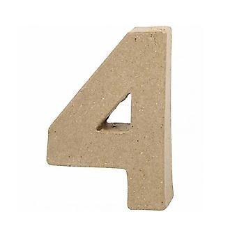 ÚLTIMOS - 10cm Pequeno papel Mache Número 4 | Formas de Mache de papel | Papier Mache
