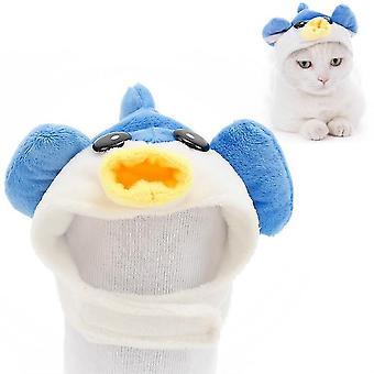 4 Stück weiche Katze Kopfbedeckung Katze Hund Kreuz Kleid Haustier Hut, Größe: L(Pufferfish)