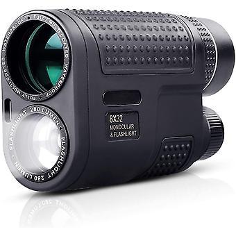 8 x 32 Monokulárne + baterka 2 v 1, BAK4 FMC Green Film Night Vision Monocular Fit for Birding Hunting Concerts,(čierna)