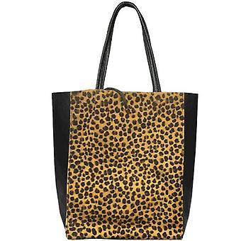 Cheetah Print Hair On Leather Tote