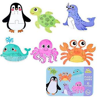 Baby puzzle toys games iron box cartoon 3d animals wooden puzzle for children montessori early educational toys gifts for kids