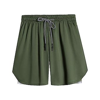 2-in-1 Multi-pocket Zip Joggers Gyms Fitness Shorts Pantss