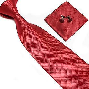 Puku Asusteet | Solmio + nenäliina + kalvosinnavat-punainen