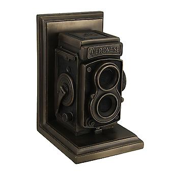 Vintage TLR câmera acabamento Bronze decorativo único Bookend estátua