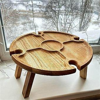 Outdoor Holztisch Tragbarer Picknicktisch mit Glashalter 2 in 1 Outdoor