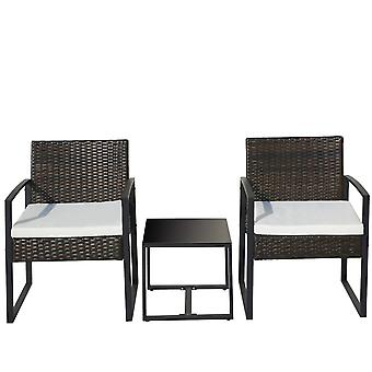 3 Piece Patio Rattan Garden Furniture Set With 2 Armchairs And 1 Table