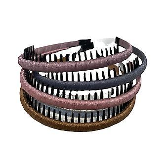 רצועות שיער סרט ראש לנשים בנות נוח שיער חישוק שרף שיניים מסרק (4 צבעים)