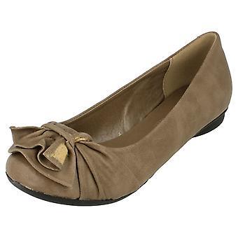 Ladies Spot On Flat Ballerina Shoe with Bow Vamp