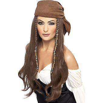 Pirat parykk brun hodet skjerf damer Buccaneer pirat parykk