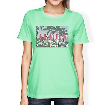 Aloha lettera stampata Womens Mint tropicale t-shirt cotone collo rotondo