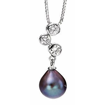 925 Silber Zirkonia und Perlenkette