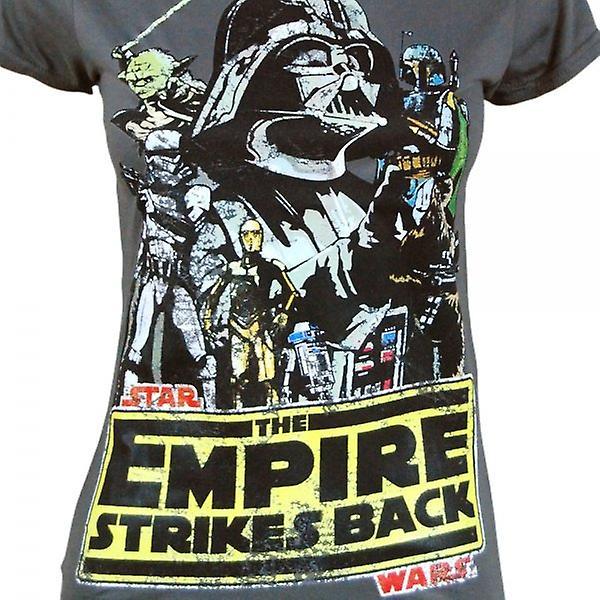 Star Wars Womens Star Wars Empire Strikes volta T camisa cinza escuro