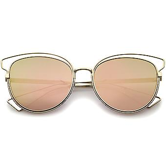 Womens Fashion Open Metal Frame Mirrored Lens Cat Eye Sunglasses 55mm