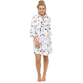 Dámske Foxbury hviezdne vytlačené tlačidlo-up košeľu štýl nočné šaty Nighty Sleepwear