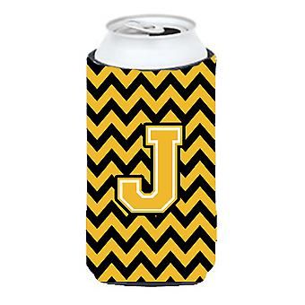 Letter J Chevron Black and Gold Tall Boy Beverage Insulator Hugger