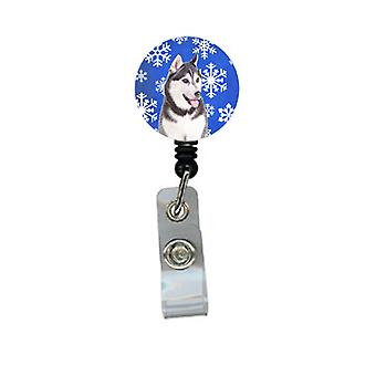 Winter Snowflakes Holiday Alaskan Malamute Retractable Badge Reel