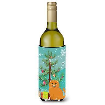 Scottish Fold Cat Merry Christmas Tree Wine Bottle Beverge Insulator Hugger