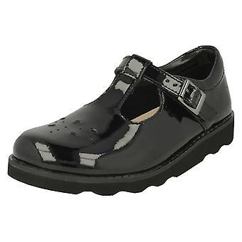 Girls Clarks Classic T-Bar Shoes Crown Wish - Black Patent - UK Size 8.5 F - EU Size 26 - US Size 9 M
