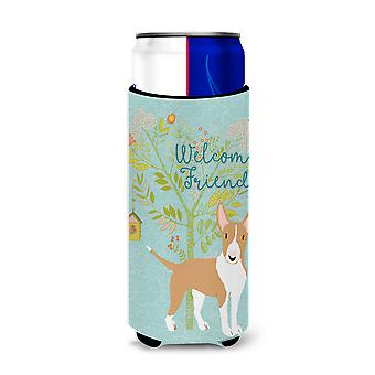 Welcome Friends Brown Bull Terrier Michelob Ultra Hugger for slim cans