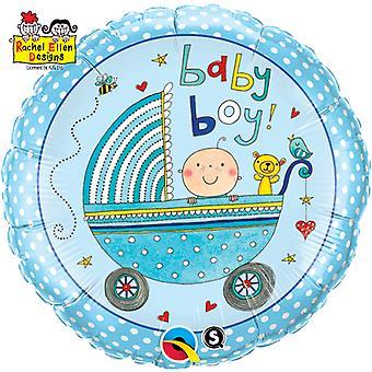 Qualatex 18 Inch Baby Boy/Girl Pram Design Circular Foil Balloon