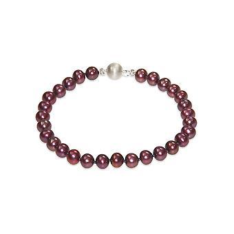 Armband-Frau kultivierte Perlen Wasser weichen roten Cranberry und Silber 925 Verschluss