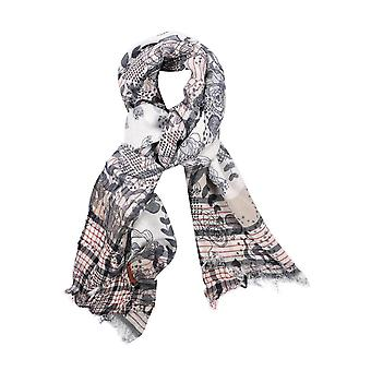 Floral cotton blend scarf – grey