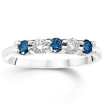 Tratado de 7 / 8ct diamante azul y blanco piedra 5 14K oro blanco aniversario