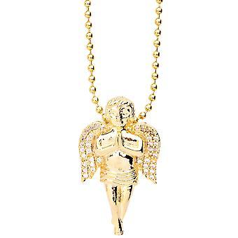 مثلج بها قلادة تمهيد الصغرى بلينغ-ميني الملائكة الذهب