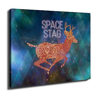Deer Head Graphic Wall Art Canvas 40cm x 30cm | Wellcoda