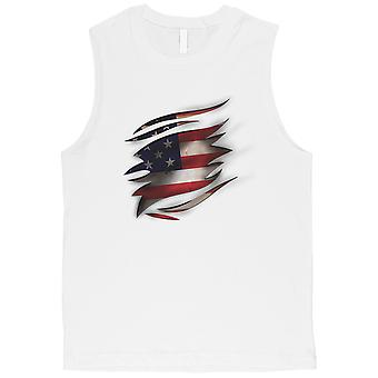 American Flag Ripped Mens 4th of July Muscle Tank Top Gift For Him