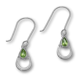 Sterling sølv August fødsel blomst Peridot ædelsten formet Design par øreringe - CE408