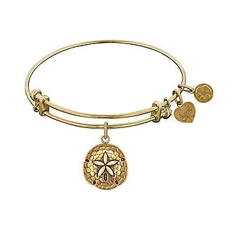 "Smooth Finish Brass Sand Dollar Angelica Bangle Bracelet, 7.25"""