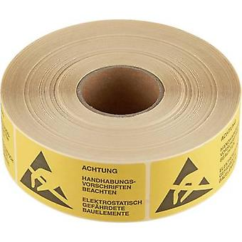 ESD warning sign 1000 pc(s) Yellow, Black (L x W) 75 mm x 36 mm Wolfgang Warmbier 2850.3675. D self-adhesive