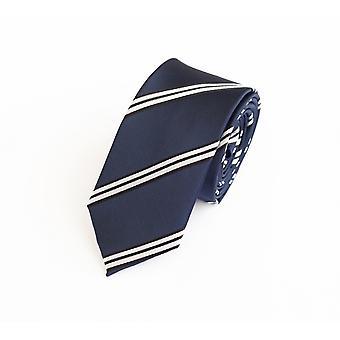 Knyta slips tie slips 6cm Mörk blå Fabio Farini vit randig