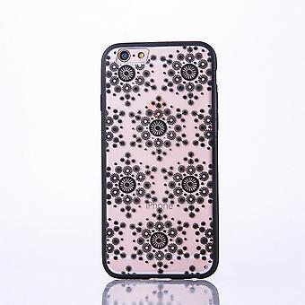 Mobiili tapauksessa mandala Apple iPhone 6s plus design kattaa aihe hiutaleet kansi puskurin musta
