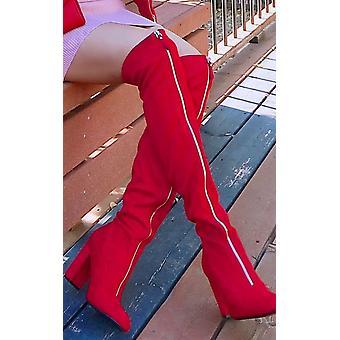 IKRUSH Womens Aria Zip Up Knee High Boots