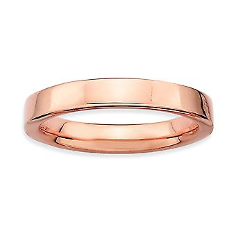 925 Sterling Silver Polished Stackable Expressions Pink plated Ring Jewelry Gifts for Women - Ring Size: 5 to 10