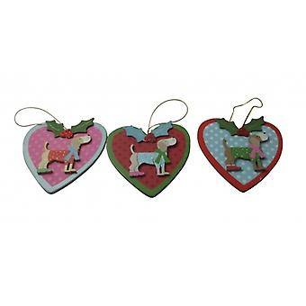 Gisela Graham Set of 3 Party Dog Christmas Tree Decorations