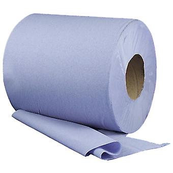 Staples 2 Ply Perforated Blue Centrefeed Rolls 150m x 195mm