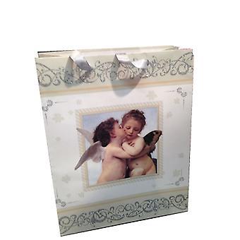 Presentpåse Ängel glitter 2-pack 18x23 cm