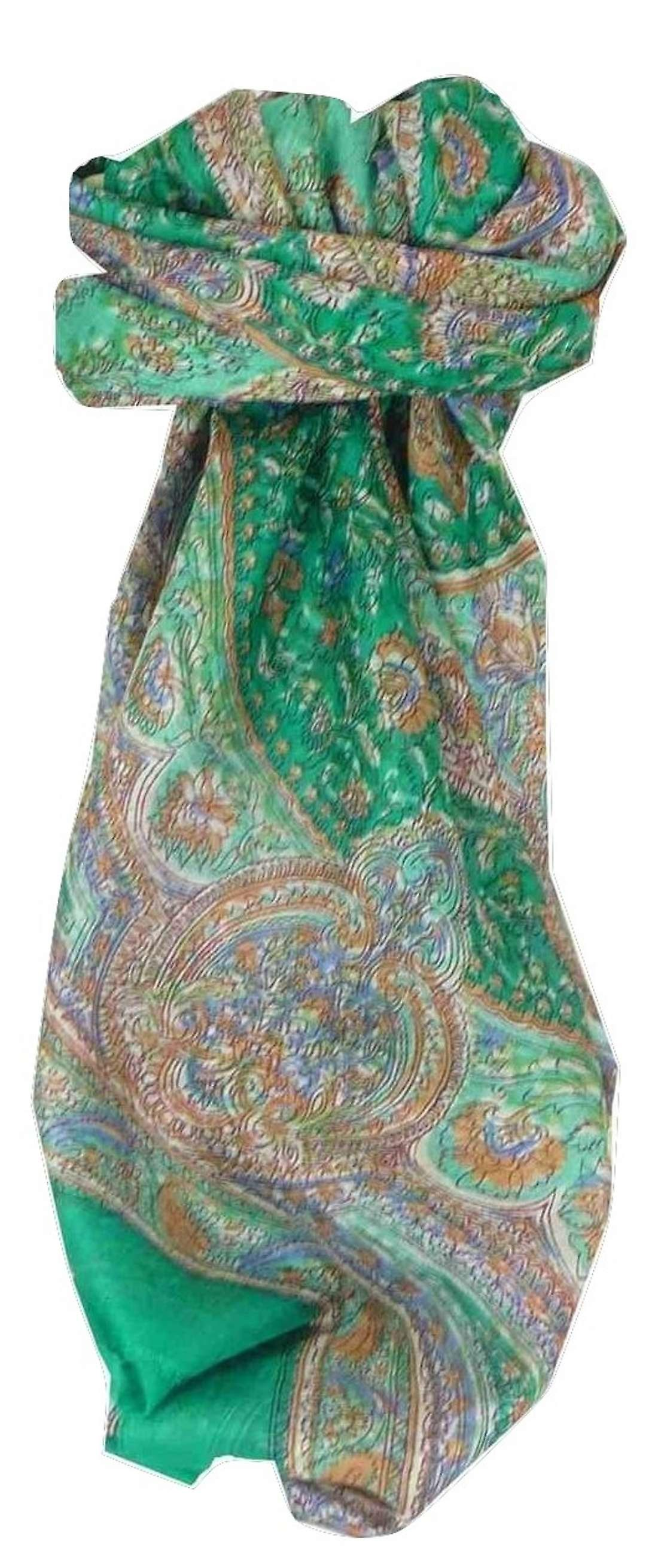 Mulberry Silk Traditional Square Scarf Kambi Teal by Pashmina & Silk