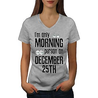 Morning Person Women GreyV-Neck T-shirt | Wellcoda