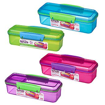 4 Sistema 410ml Snack Attack Boxes, Blue, Green, Purple, Pink