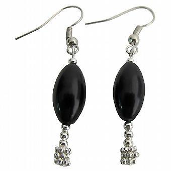 Wedding Gift Holiday Gift Black Oval Barrel Pearl Earrings