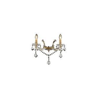 Idealne Lux - Florian złoto wykończenie ściany światło z przezroczystego szkła i kryształów IDL035659