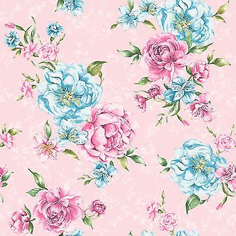 Josephine Wallpaper bloemen Flora laat Motif vet roze & blauwe Holden Decor