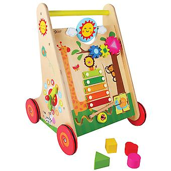 Mundo Clásico - Baby Wooden Learning Walker, Push Along Toy with Colourful Activity Centre