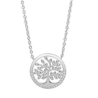 Ah! Jewellery Sterling Silver Round Tree Of Life Pendant Necklace