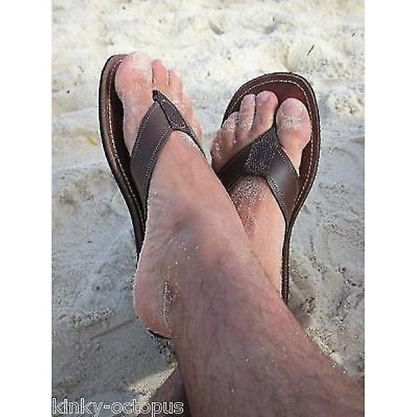 Neto Men's Chocolate Leather Flip Flops