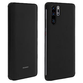 Huawei P30 Pro flip Case original kort deksel-svart